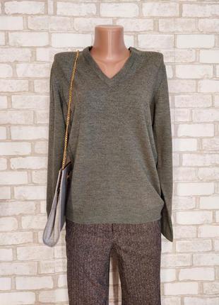 Новый мега теплый свитер со 100%шерсти приятного цвета хаки, размер л-хл