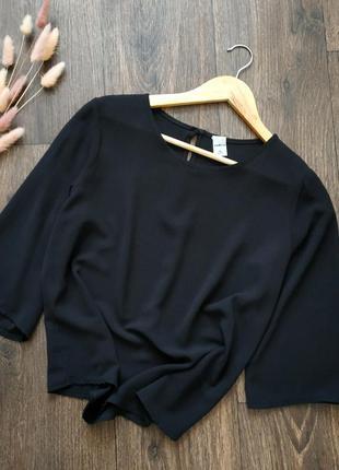 Блуза шифоновая, кофточка базовая однотонная чёрная