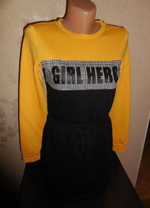 Стильное платье c&a, внутри начесик, 11-12 лет