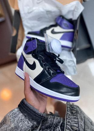 Кроссовки кеды nike air jordan high violet black кросівки кеди