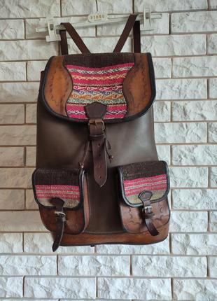 Большой этно рюкзак кожаный коричневый из толстой воловой кожи шкіряний етно