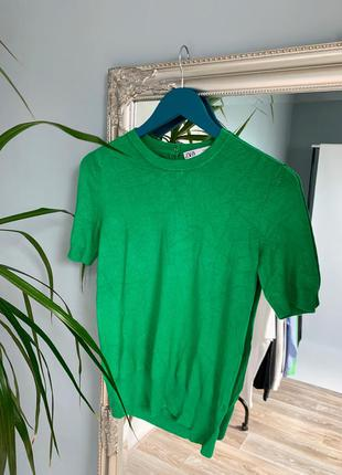 Зелёная плотная футболка zara