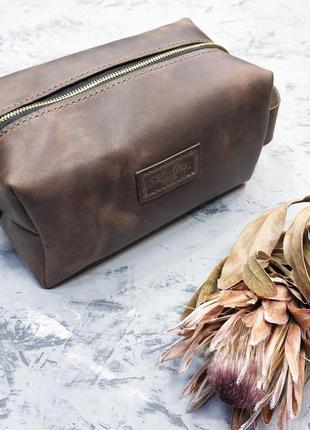 Кожаный несессер, косметичка, органайзер мужской, женский для путешествий, дома, дорожная сумка