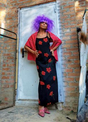 Винтажное платье в принт цветы маки длинное на шлейках макси трикотажное стрейч трикотаж clock house