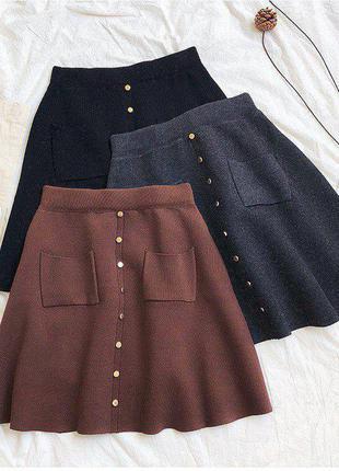 Вязаные юбки трапеция с карманами и кнопками🤩