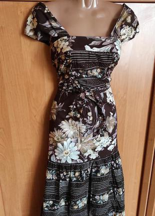 Отличное платье миди макси цветочный принт винтаж ткань натуральная