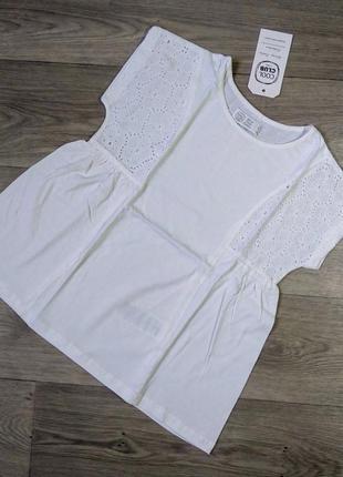 Белая блузка с коротким рукавом блуза нарядная футболка cool club 128 134