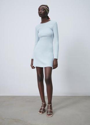 Вязаное нежно голубое платье размер с zara оригинал свежая коллекция