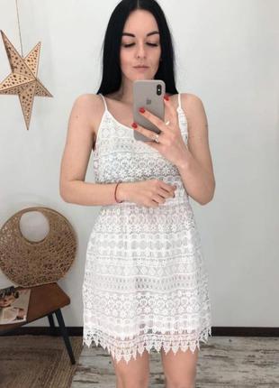 Белое выбитое платье h&m
