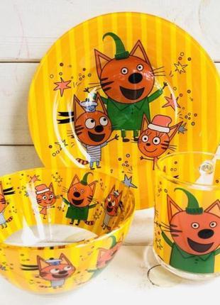 Детский набор посуды подарочный три кота