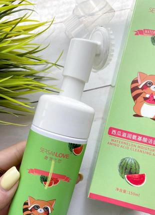 Нежная пенка - мусс  для умывания с щеточкой sersanlove watermelon арбуз