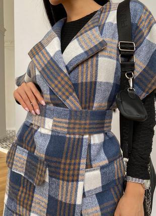 Пальто без рукавов олье синий jadone fashion