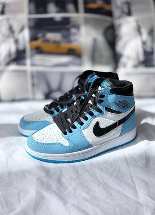 Кроссовки nike air jordan 1 retro high 'university blue' бело-голубые