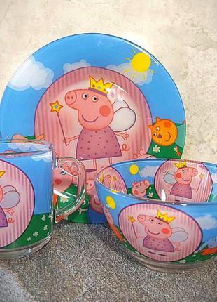 Детский набор посуды подарочный свинка пеппа