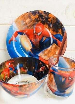 Детский набор посуды подарочный человек паук