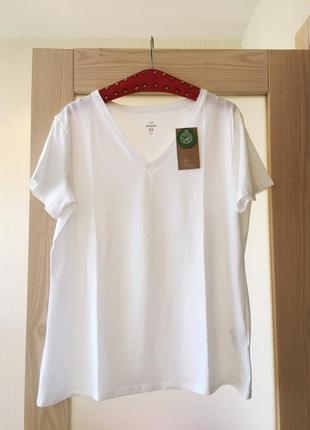 Белая базовая хлопковая футболка высокое качество!!! новая с биркой c&a / большой размер