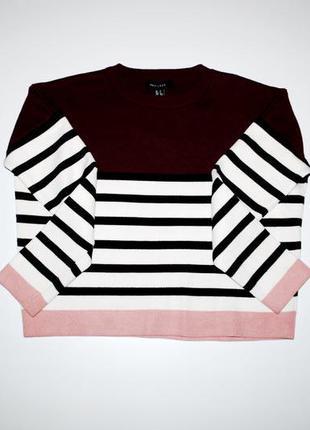 Свитшот плотный контрастный свитер бордовый в полоску м бренд