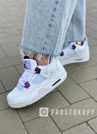 Кроссовки nike air jordan 4 'white purple' белые с фиолетовой вставкой
