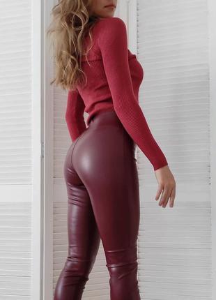 Акция! бордовые кожаные лосины с высокой посадкой