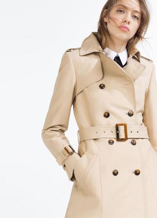 Женский шикарный стильный плащ пальто тренч zara
