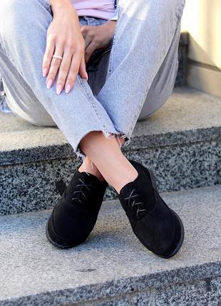 Модные черные замшевые женские туфли натуральная замша низкий ход шнуровка  размеры 36-41 к. 9770