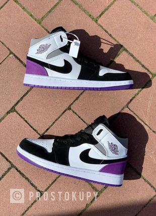 Кроссовки nike air jordan 1 retro mid 'varcity purple'  пурпурные
