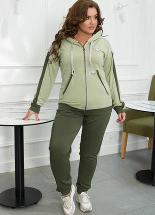 Спортивный костюм большие размеры костюм женский батал набор прогулочный пышная красота штаны кофта
