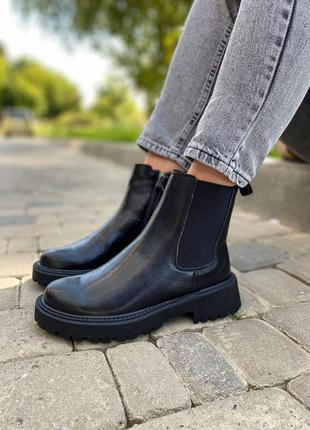 Женские утепленные кожаные ботинки/натуральная кожа.