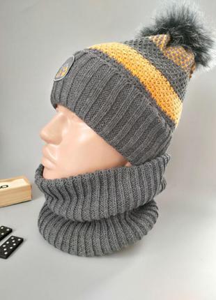 Теплая зимняя шапка + хомут / снуд