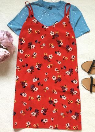 Sale!!! красное платье на тонких бретельках в цветы atmosphere размер 14