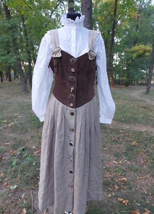"""Винтажное льняное платье 100%- кожа,100%- лен """"original alphorn""""германия"""