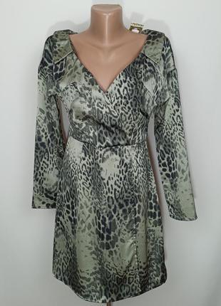 Платье мини новое на запах в анималистический принт boohoo uk 8/36/xs