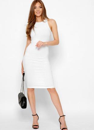 Белое платье , платье футляр , платье на бретелях
