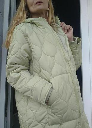 Теплое стеганое пальто с капюшоном оверсайз фисташковое фисташка⚡❤️⚡
