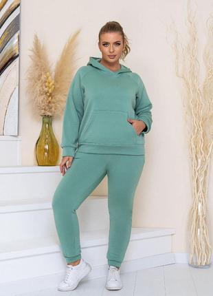 Зеленый костюм, теплый костюм 54 размера , костюм на флисе