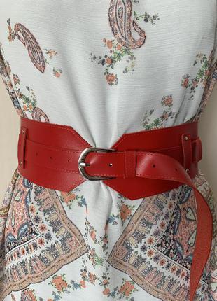 Ремень корсет широкий красный женский ремень
