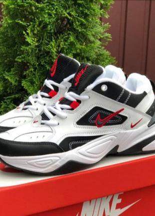 Мужские кроссовки nike m2k tekno кожаные, белые, осенние
