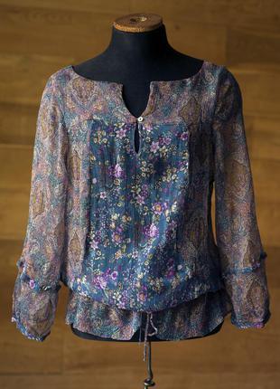 Шелковая блузка в цветочек женская zara, размер s, m