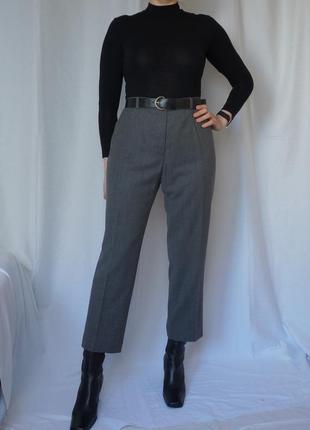 Тёплые брюки высокая посадка шерсть цвет антрацит винтаж brax