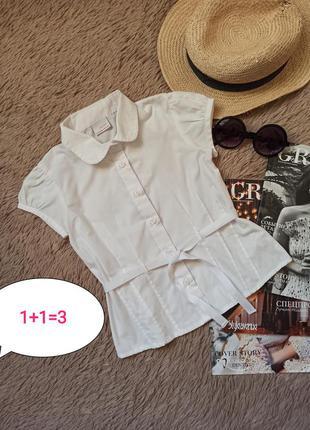 Красивая белая рубашка с поясом на девочку/блузка/блуза