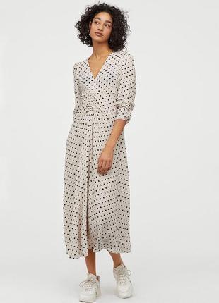 Красивое платье миди в горошек h&m