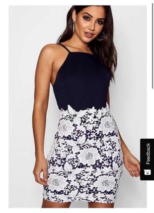Boohoo платье синее с белым кружевом карандаш футляр по фигуре
