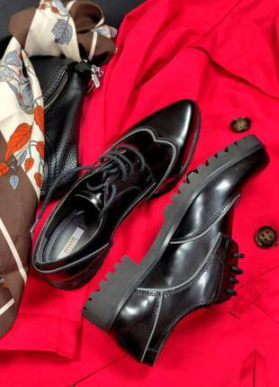 Стильные туфли броги geox respira натуральная кожа италия этикетка