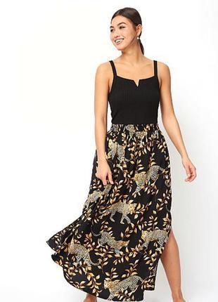 Шикарная  юбка актуальный леопардовый принт
