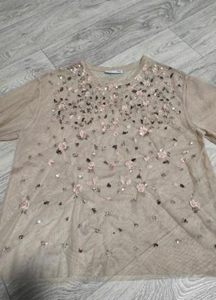 Сітка накидка футболка прозора бісер і квіти