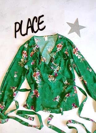 Блузка на запах женская в цветочек h&m зеленая
