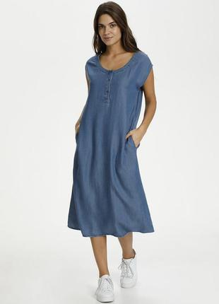 Джинсовое лиоцелевое платье миди