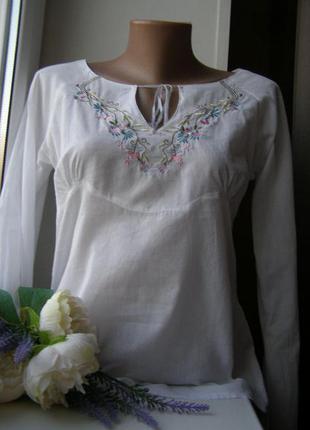 Вышиванка блуза с вышивкой 100% хлопок s размер