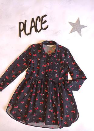 Платье  на девочку черное с цветами стильное h&m
