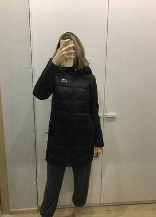 Чёрный пуховик удлиненная пуховая куртка kappa пальто